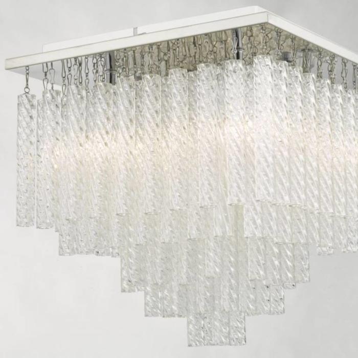 Izumi - Flush Textured Glass Bathroom Ceiling Light - IP44
