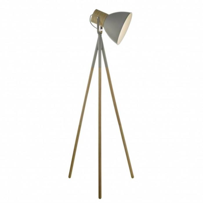 Adna - Grey & Wood Floor Lamp