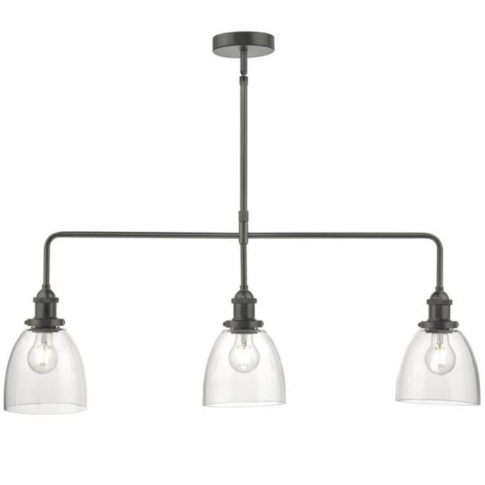 Arvin - 3 Light Bar Pendant - Antique Chrome & Glass