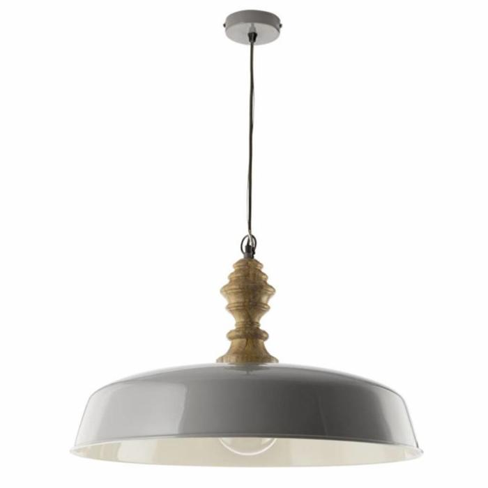 Vadna - Large Grey & Wood Pendant