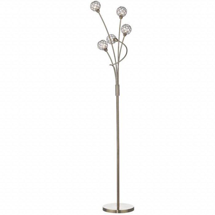 5 Light Beaded Ball Floor Lamp - Antique Brass
