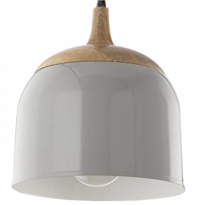 Seona - Grey & Wood Bell Pendant