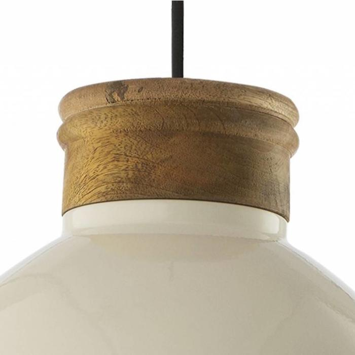 Aphra - Gloss Cream & Mango Wood Pendant