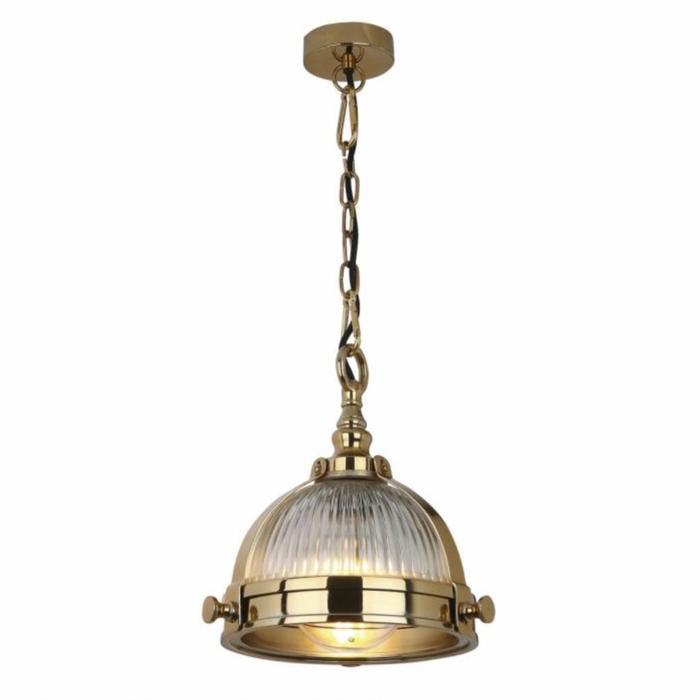 Ryku - Ribbed Glass & Brass Pendant