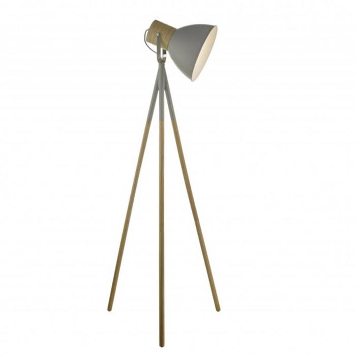 Adda - Grey & Wood Tripod Floor Lamp