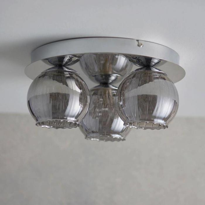 Aero - Smoked Glass Mini 3 Light Flush Fitting