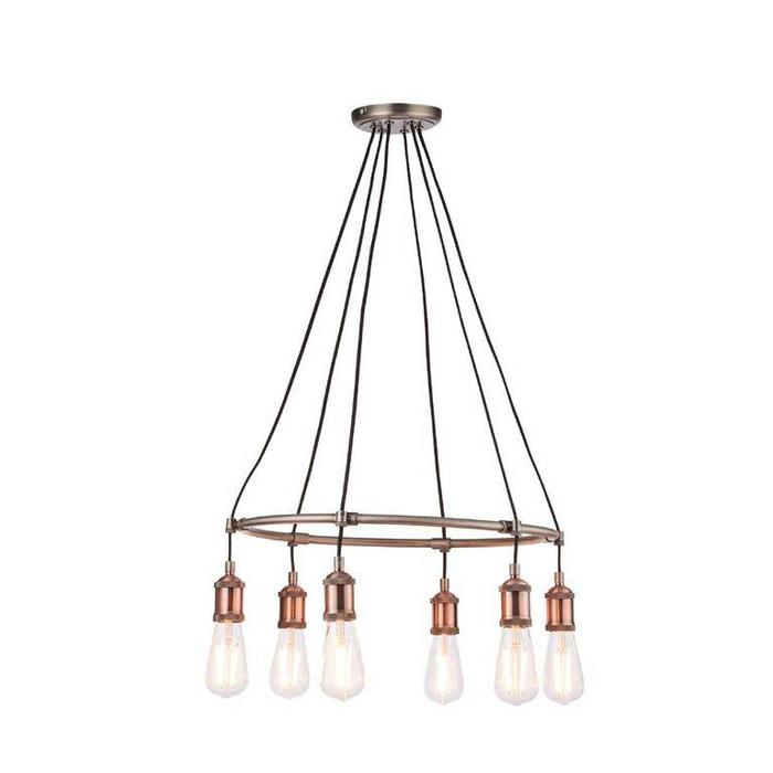 Vintage - 6 Light Feature Ceiling Light - Copper & Pewter