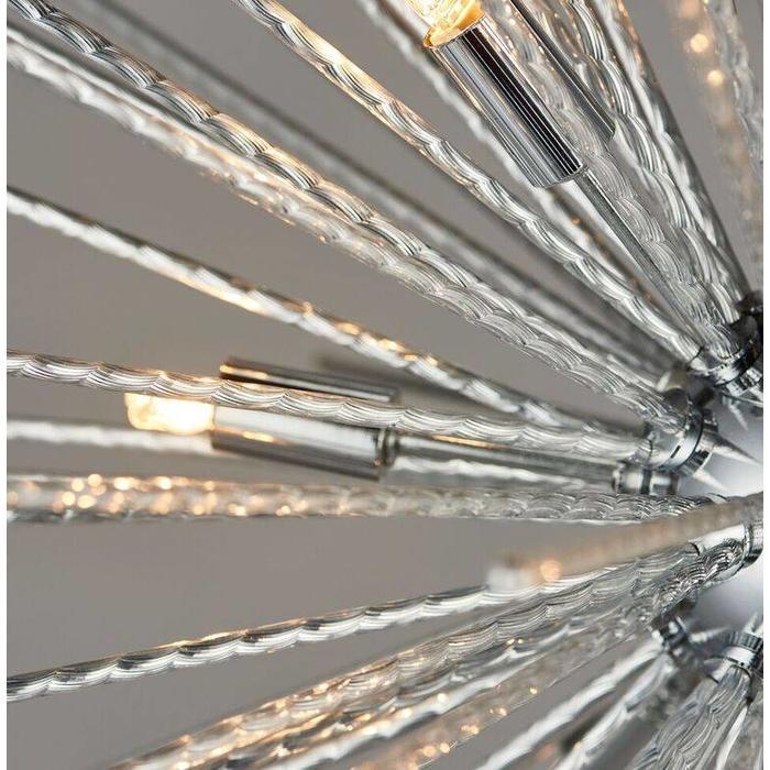 Starburst - Polished Chrome Textured Rod Feature Pendant