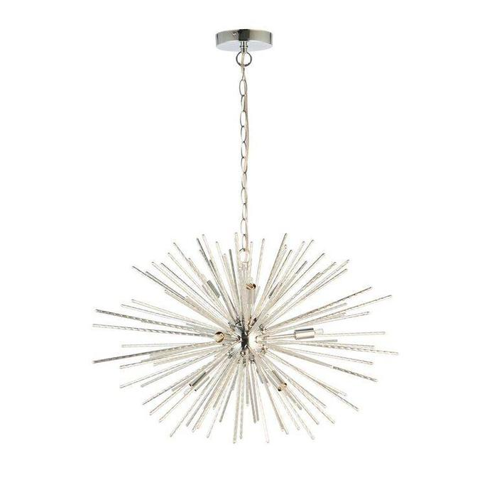 Starburst - Polished Chrome Textured Rod Feature Pendant