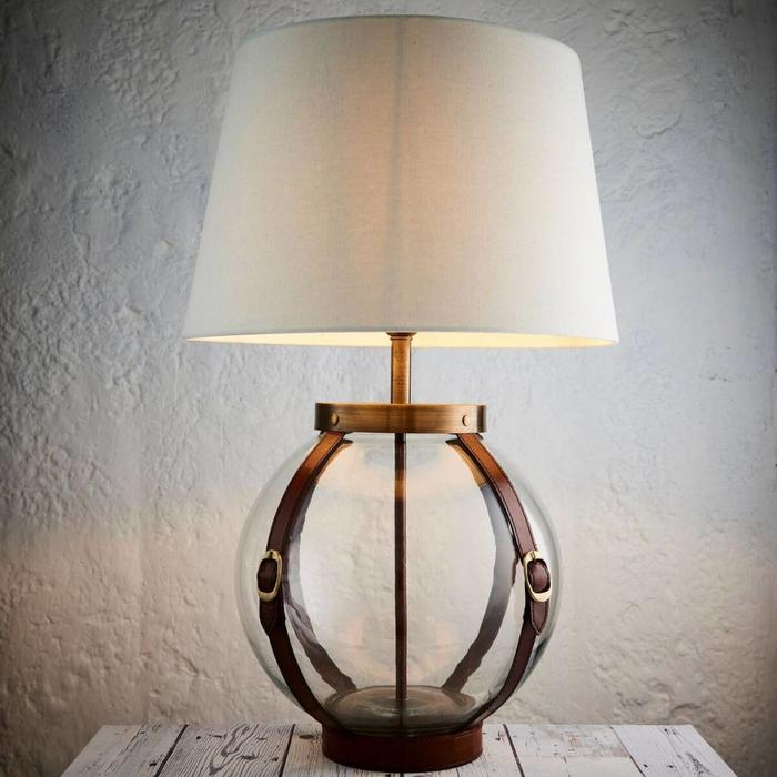 Country Chic - Leather & Glass Globe Table Lamp