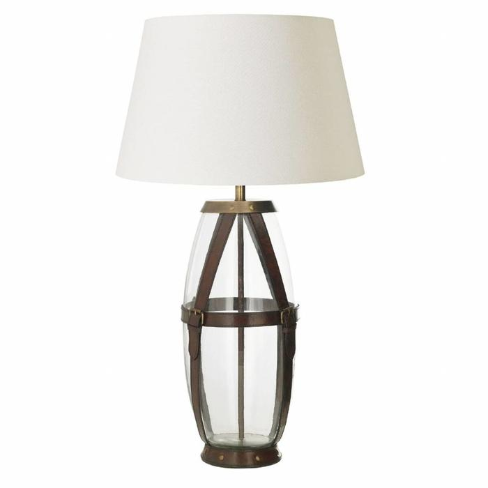 Country Chic - Leather & Glass Vase Table Lamp