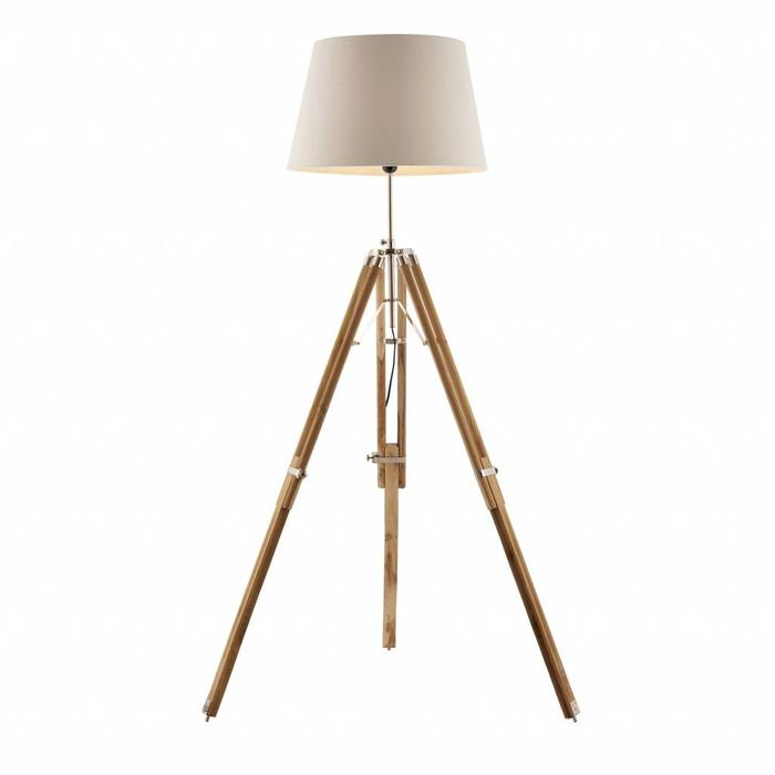 Teak Wood Tripod Floor Lamp - Base Only