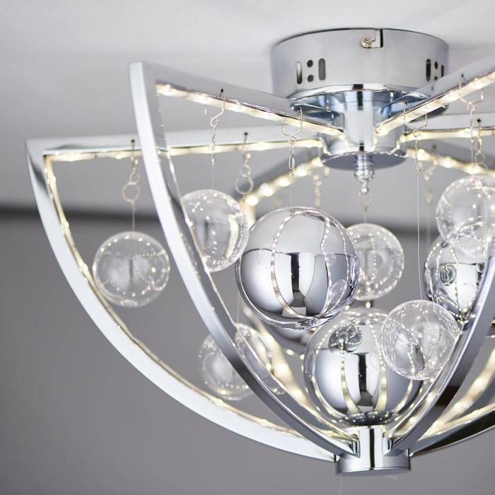 Orbital - LED Semi Flush Ceiling Light - Clear & Metallic Bauble
