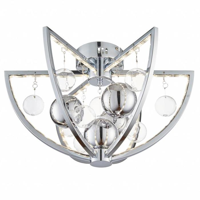 Orbital - LED Semi Flush Ceiling Light - Clear & Metallic Bauble