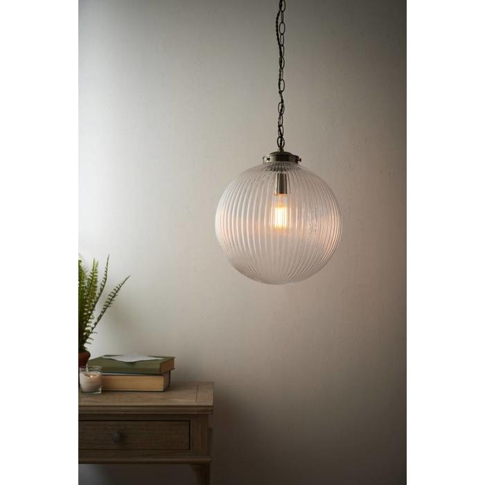Kay - Ribbed Glass Globe - Large
