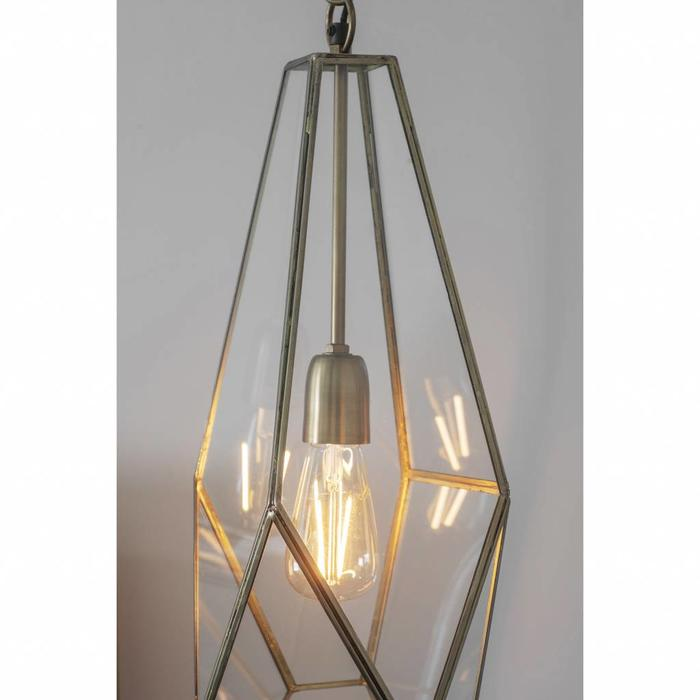 Terra - Glass Panelled Cage Pendant - Antique Brass