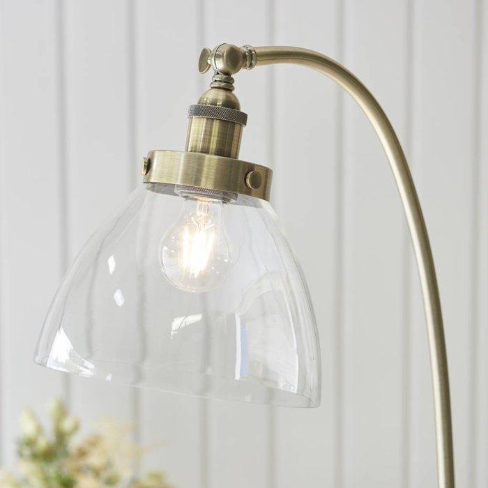 Industrial Glass Floor Lamp - Antique Brass