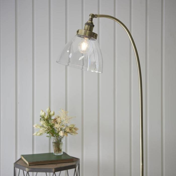 Industrial Glass Table/Desk Lamp - Antique Brass