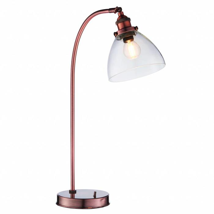 Industrial Glass Table/Desk Lamp - Antique Copper