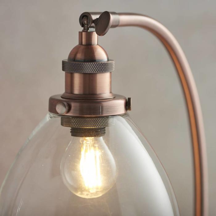 Industrial Glass Table/Desk Lamp - Antique Copper