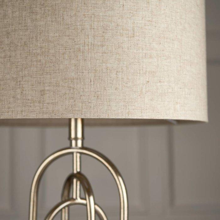 Meet - Antique Silver Leaf & Natural Linen Feature Table Lamp