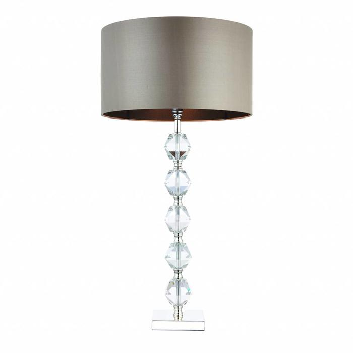 Mardon - Crystal Table Lamp with Mink Faux Silk Shade