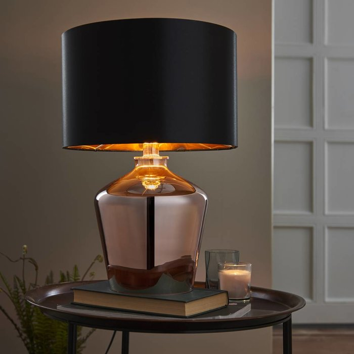 Parklane - Coppered Glass & Black Faux Silk Shade