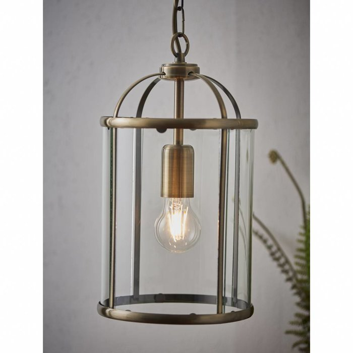 Lambet - Glass & Antique Brass Lantern - Small