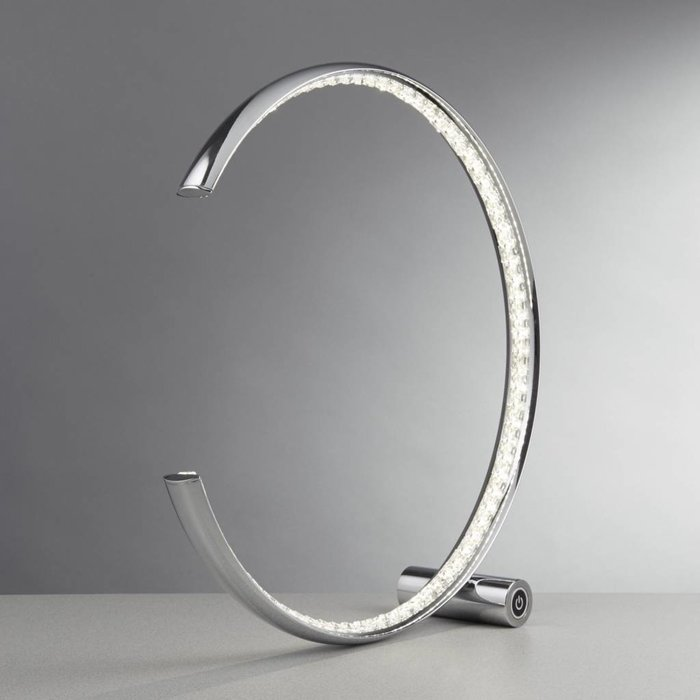 Realto - Crystal covered LED Ring Table Lamp - Polished Chrome