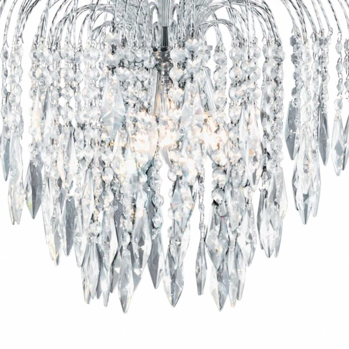 Classic Crystal Waterfall Ceiling Light - Polished Chrome, Crystal Buttons & Drops  - Large