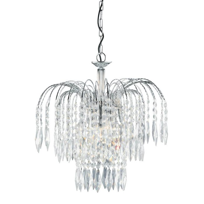 Classic Crystal Waterfall Ceiling Light - Polished Chrome, Crystal Buttons & Drops - Medium