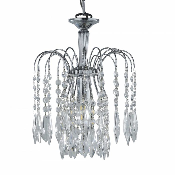 Classic Crystal Waterfall Ceiling Light - Polished Chrome, Crystal Buttons & Drops - Small