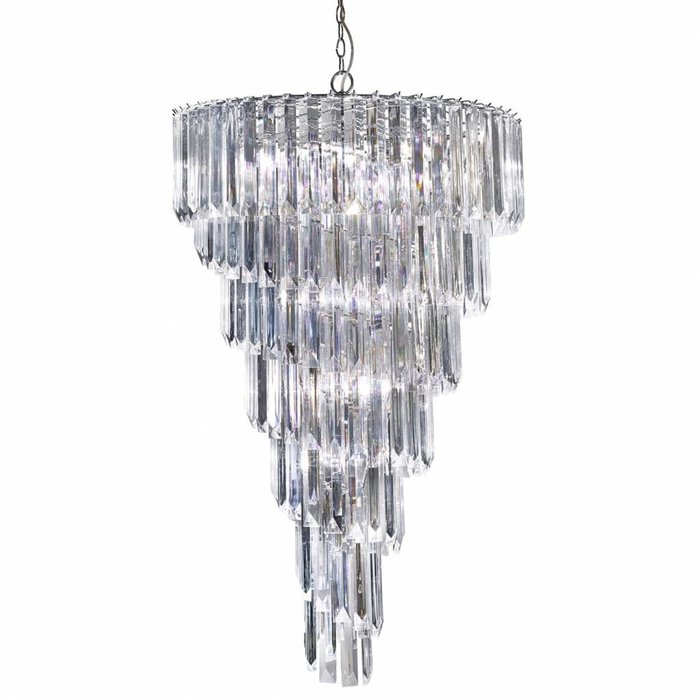 Signature - Large Cascading 9 Light Chandelier - Clear Acrylic Prisms