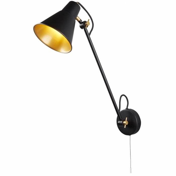 Triple Jointed Work Angle Wall Lamp - Matt Black & Gold