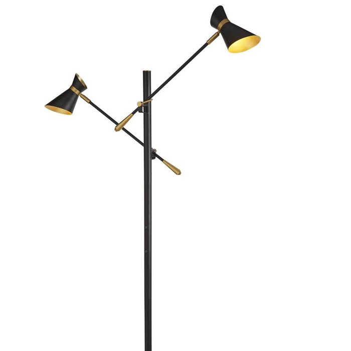 Angelo - Adjustable LED Double Headed Floor Lamp - Black & Gold