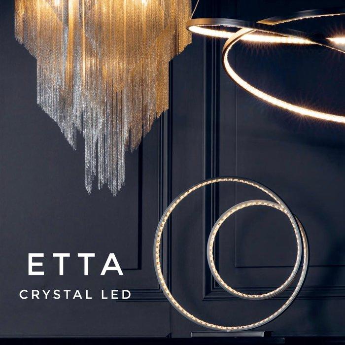 Etta - Modern LED Crystal Rings - Touch Table  Lamp - Matt Nickel