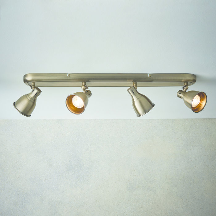 Country - 4 Bar Spotlight Ceiling Fitting - Antique Brass
