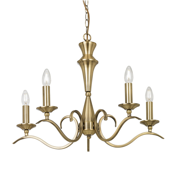 Coralline - 5 Light Antique Brass Chandelier