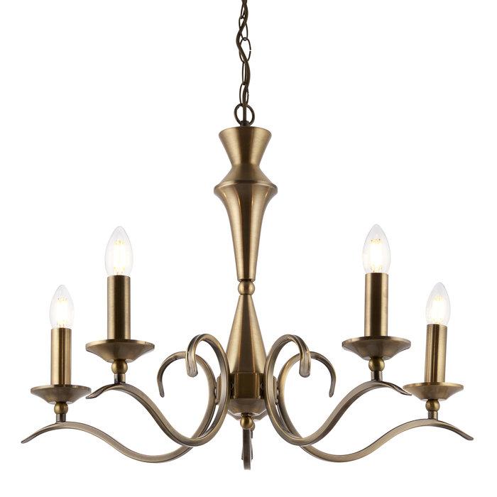 Coralline - 5 Light Antique Brass Chandelier