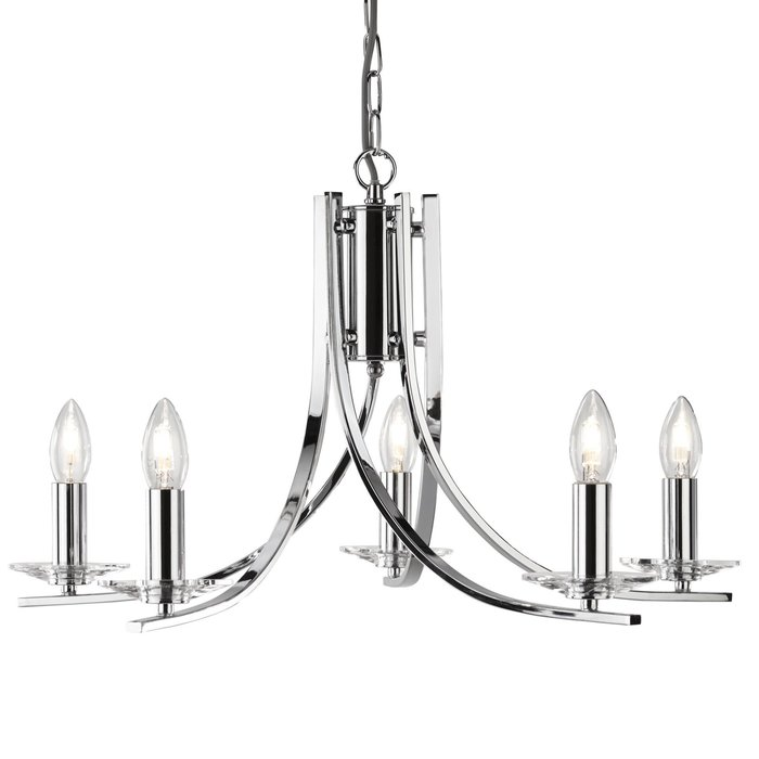 Neve - 5 Light Multi Arm Chandler - Polished Chrome and Crystal Sconces