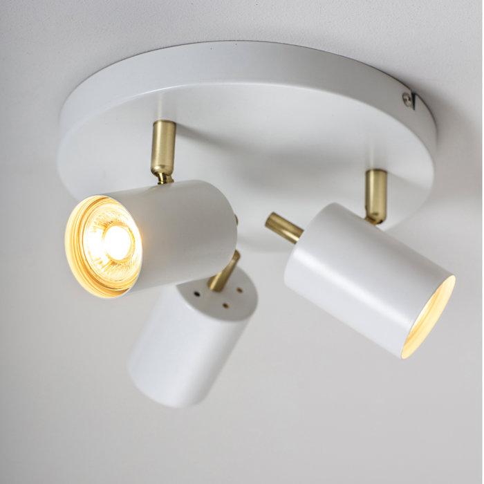 Kit - Round Plate LED 3 Light Spotlight - Matt White & Satin Gold