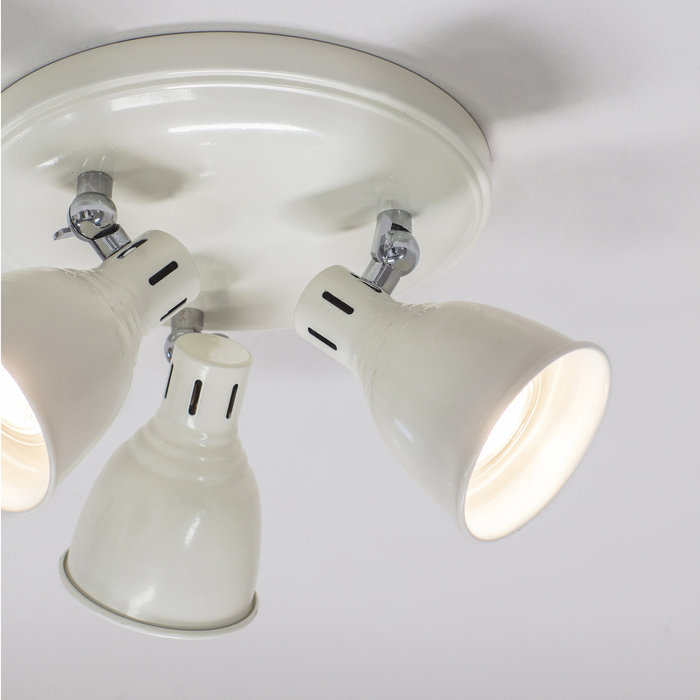 Country - Industrial LED Spotlight - 3 Light Round - Gloss Ivory