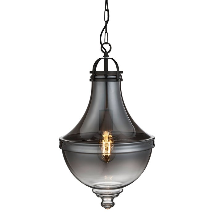 Contemporary Classic - Fluted Pendant - Smoked Glass & Pewter