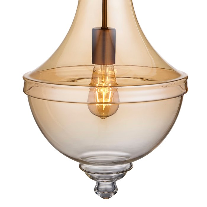 Contemporary Classic - Fluted Pendant - Amber Glass & Satin Bronze