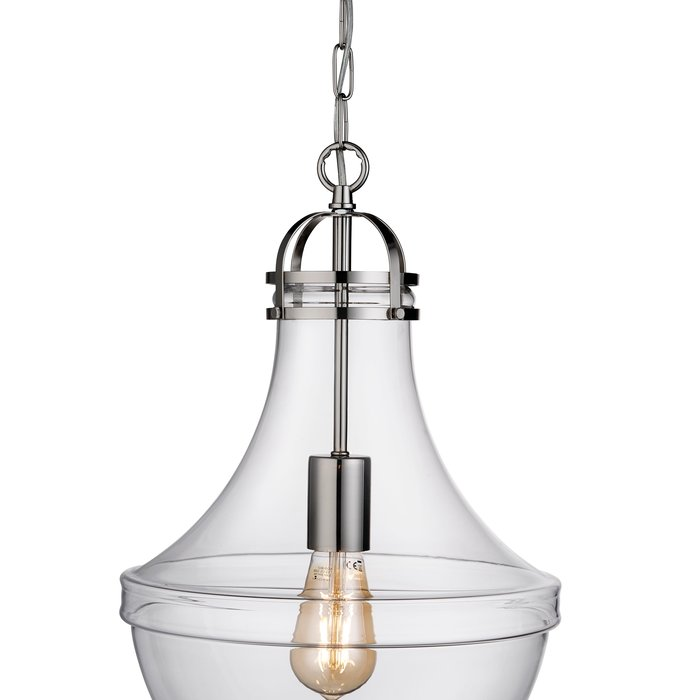 Contemporary Classic - Fluted Pendant - Clear Glass & Stainless Steel