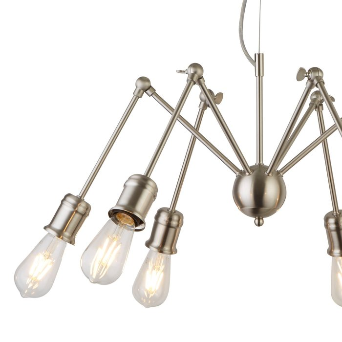 Spiderette - 6 Light Industrial Feature Light - Satin Silver