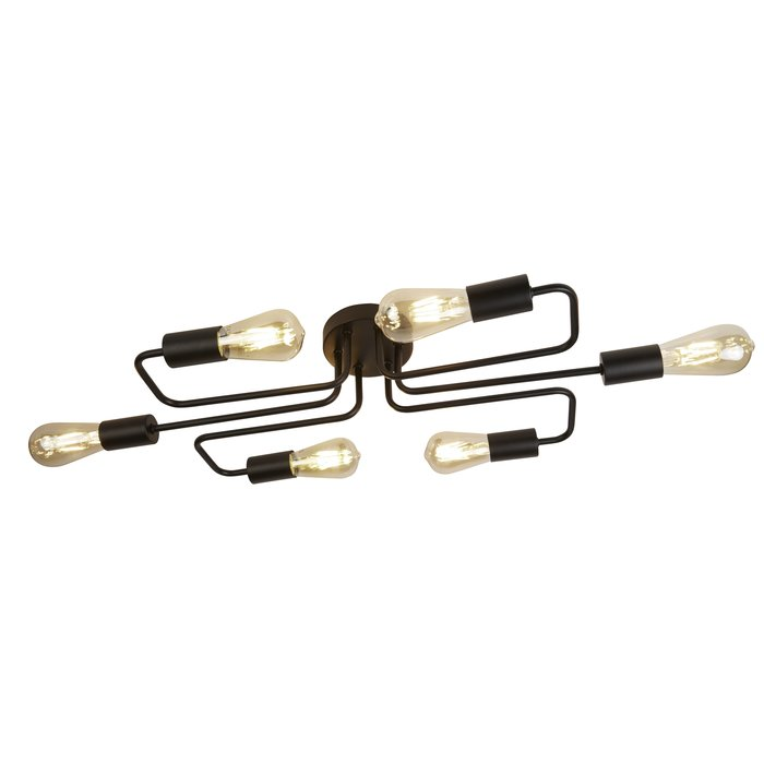 Flush Industrial Pipe Ceiling Light - Matt Black - 6 Light