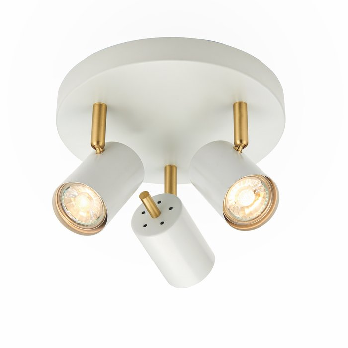Kit - Round Plate LED 3 Light Spotlight - Matt White & Satin Gold