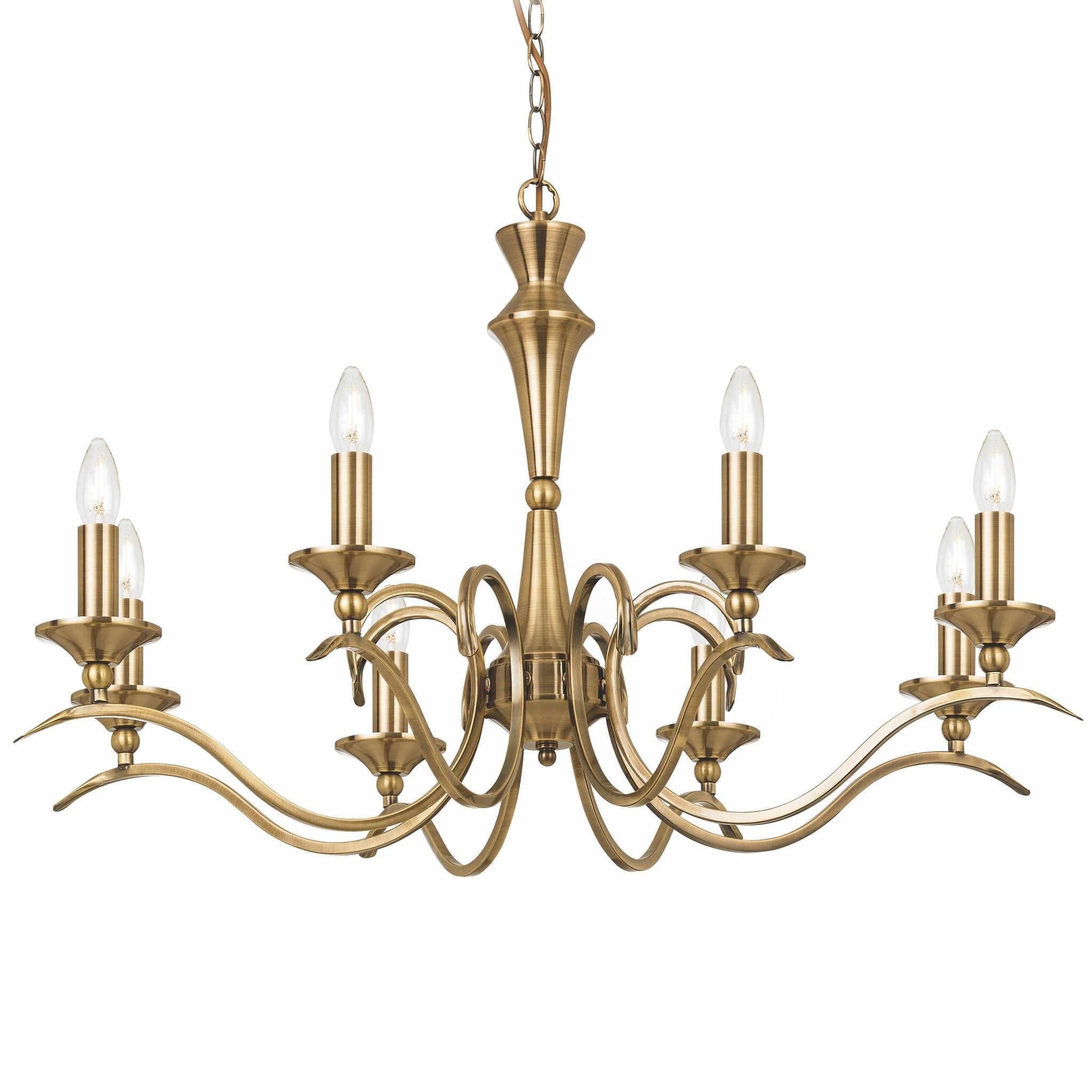 Coralline 8 light antique brass chandelier