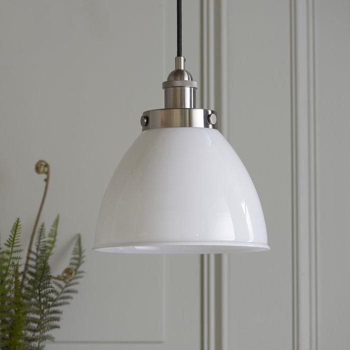 Resto Style Gloss White Glass Industrial Pendant
